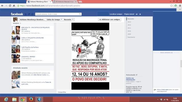 print da página da professora no facebook, tirado dia 11/02/2014